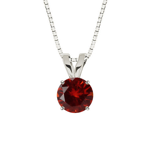 Lab-Created Round Ruby 10K White Gold Pendant Necklace