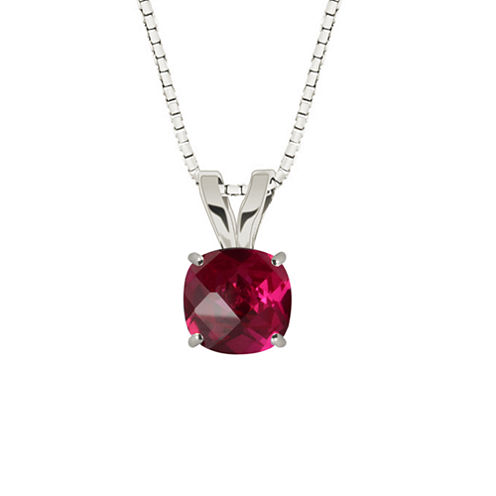 Lab-Created Ruby 10K White Gold Pendant Necklace