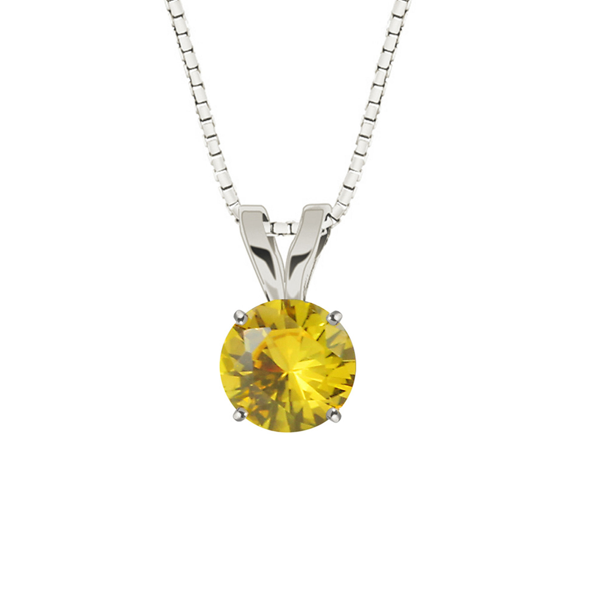 Lab-Created Round Yellow Sapphire 10K White Gold Pendant Necklace