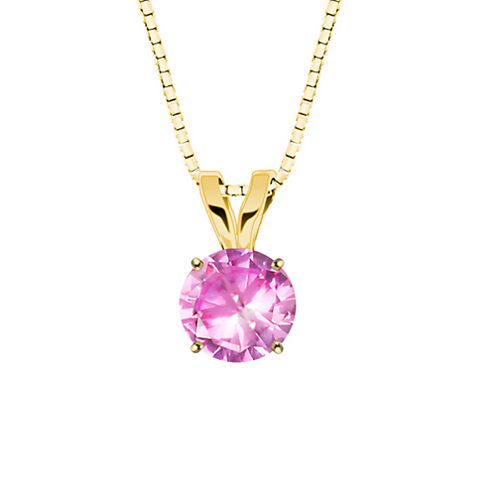 Lab-Created Round Pink Sapphire 10K Yellow Gold Pendant Necklace