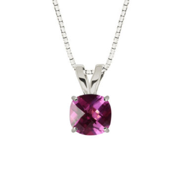 jcpenney.com | Lab-Created Checkerboard Cut Pink Sapphire 10K White Gold Pendant Necklace