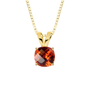 jcpenney.com | Lab-Created Checkerboard Cut Padparascha Sapphire 10K Yellow Gold Pendant Necklace