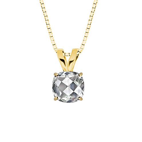 Lab Created Checkerboard Cushion-Cut White Sapphire 10K Yellow Gold Pendant