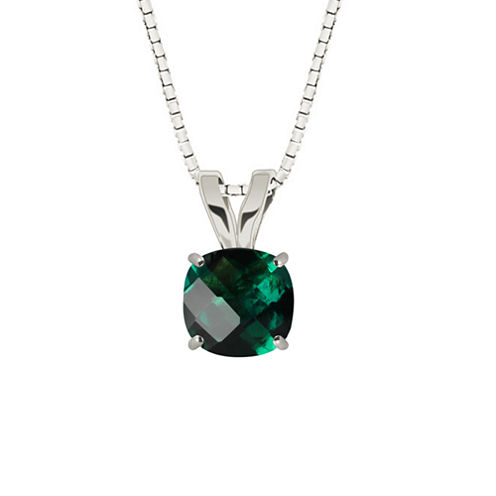 Lab-Created Checkerboard Cut Emerald 10K White Gold Pendant Necklace