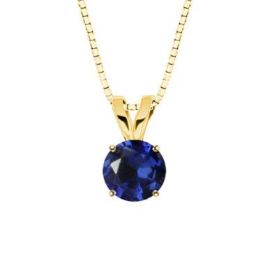 Lab created round blue sapphire 10k yellow gold pendant necklace lab created round blue sapphire 10k yellow gold pendant necklace mozeypictures Choice Image