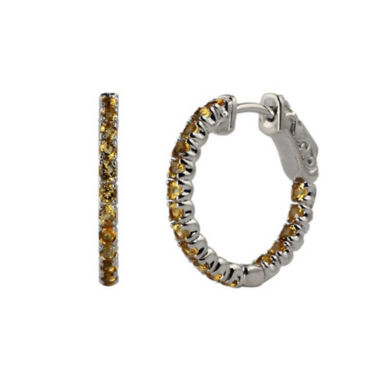 jcpenney.com | Genuine Citrine Sterling Silver Hoop Earrings