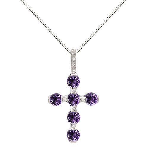 Genuine Amethyst & Lab-Created White Sapphire Sterling Silver Cross Pendant Necklace