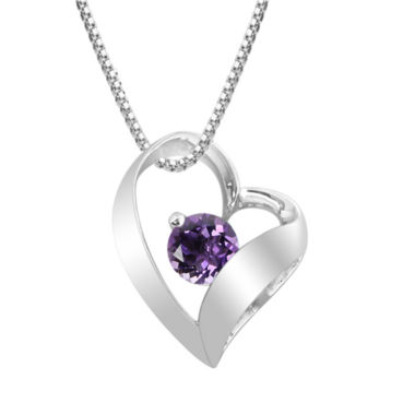 jcpenney.com | Genuine Amethyst Sterling Silver Heart Pendant Necklace