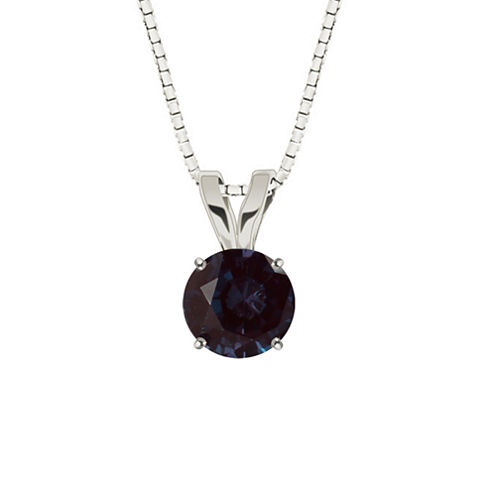 Lab-Created Alexandrite 10K White Gold Pendant Necklace