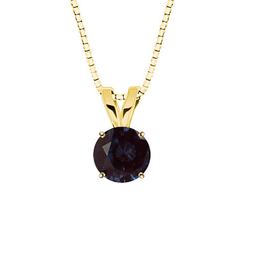Lab-Created Alexandrite 10K Yellow Gold Pendant Necklace