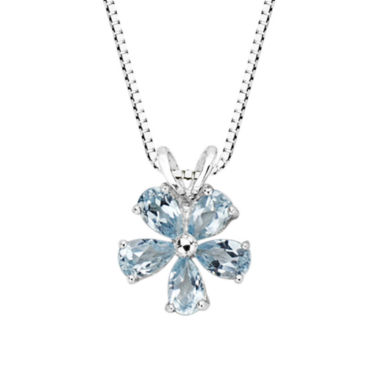 jcpenney.com | Genuine Blue Topaz Flower Pendant