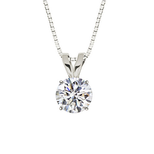 Round White Topaz 10K White Gold Pendant Necklace