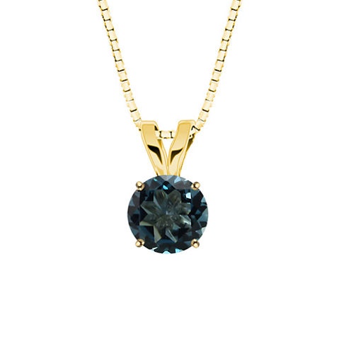 Round London Blue Topaz 10K Yellow Gold Pendant Necklace