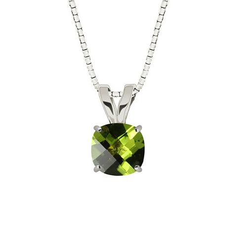 Genuine Peridot 10K White Gold Pendant Necklace