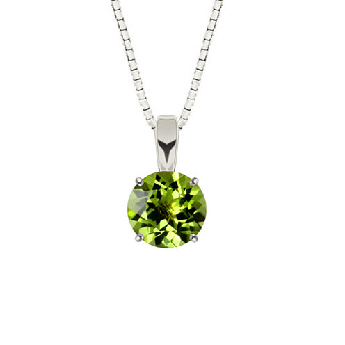 Genuine Round Peridot Sterling Silver Pendant Necklace