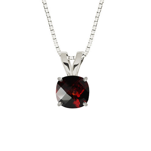 Genuine Garnet Sterling Silver Pendant Necklace
