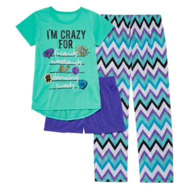 jcpenney.com | Total Girl® 3-pc. I'm Crazy For List Sleepwear Set - Girls