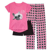 Total Girl® 3-pc. Pug Sleepwear Set - Girls