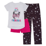 Total Girl® 3-pc. Wake When I'm Famous Sleepwear Set - Girls