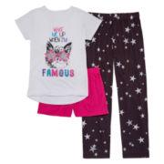 Total Girl® 3-pc. Wake When I'm Famous Sleepwear Set - Girls