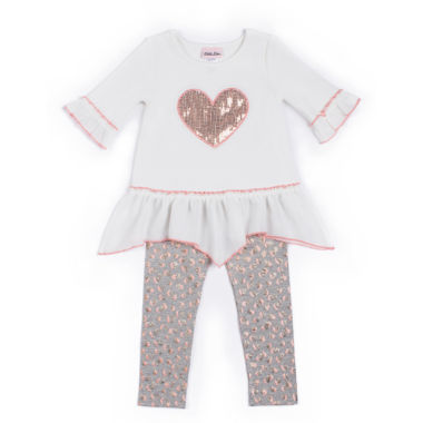 jcpenney.com | Little Lass® Sparkle Heart Leggings Set - Toddler Girls 2t-4t