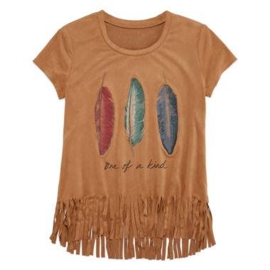 jcpenney.com | Arizona Short-Sleeve Graphic Faux Suede Top with Fringe Bottom - Girls 7-16 and Plus