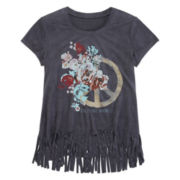 Arizona Short-Sleeve Graphic Faux Suede Top with Fringe Bottom - Girls 7-16 and Plus