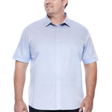 jcpenney.com | Claiborne® Short-Sleeve Ombre Woven Button-Front Cotton Shirt - Big & Tall