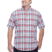 IZOD® Short-Sleeve Chambray Button-Front Cotton Shirt - Big & Tall