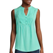 Heart & Soul® Sleeveless Pintuck Yoke Lace Inset Top