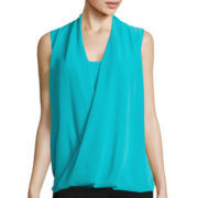 Worthington® Sleeveless Drape Twist Top - Petite