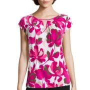 Liz Claiborne® Short-Sleeve Keyhole Tee