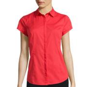 Worthington® Short-Sleeve Button-Front Oxford Shirt