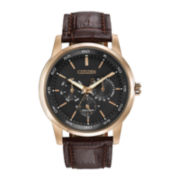 Citizen® Eco-Drive™ Mens Brown Leather Multifunction Watch BU2013-08E