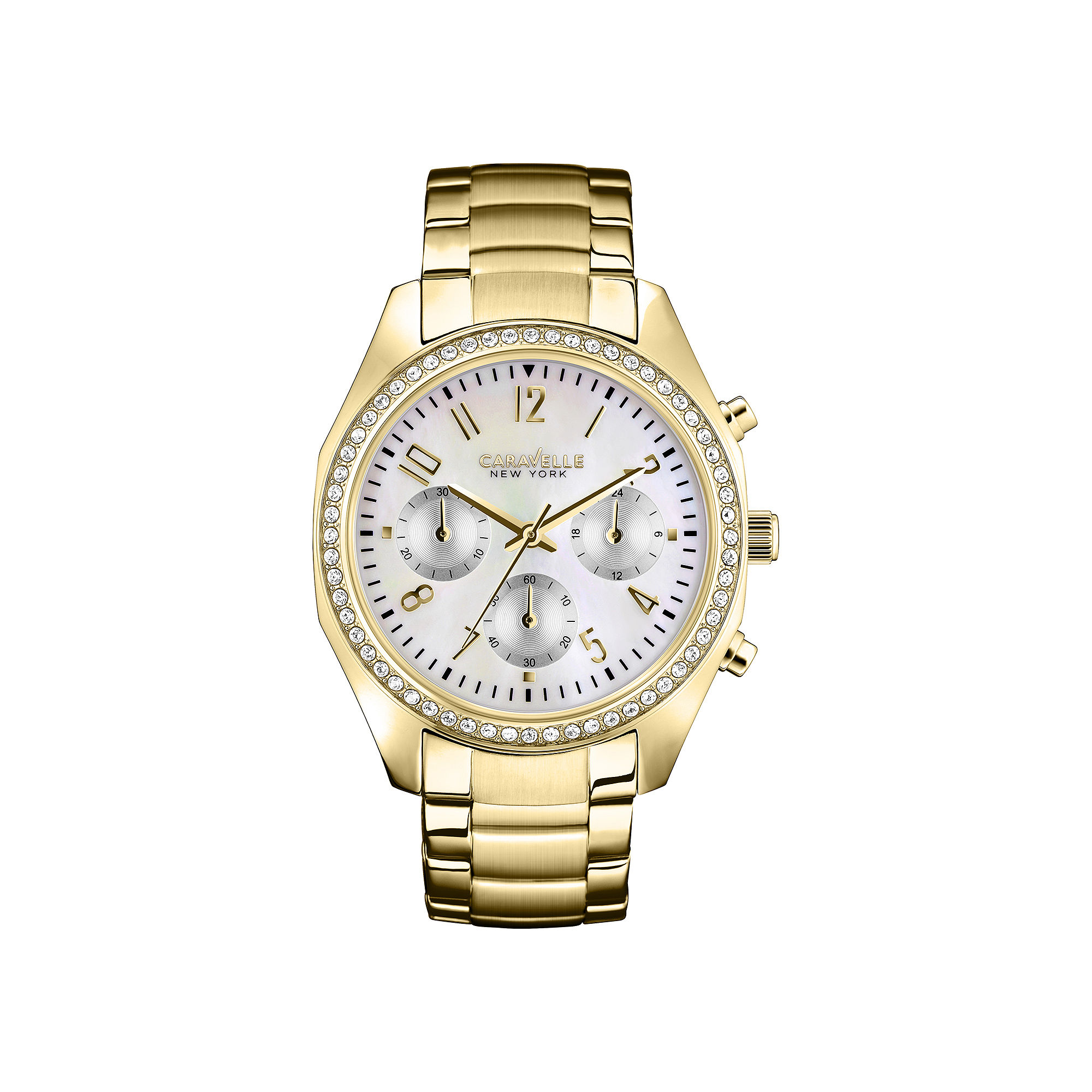 Caravelle New York Womens Gold-Tone Chronograph Watch 44L114