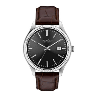 jcpenney.com | Caravelle New York® Mens Brown Leather Bracelet Watch 43B132