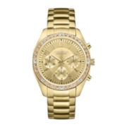 Caravelle New York® Womens Gold-Tone Crystal Accent Chronograph Watch