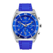 Caravelle New York® Mens Blue Dial Blue Silicone Strap Chronograph Watch