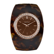 Caravelle New York® Womens Tortoise Shell Bangle Watch