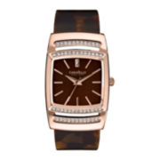 Caravelle New York® Womens Tortoise Shell Hinged Bangle Crystal Accent Watch