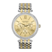 Caravelle New York® Womens Two-Tone Crystal Accent Multifunction Watch