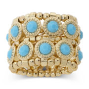 Mixit™ 2-Row Stone Gold-Tone Stretch Ring