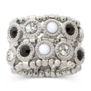 Mixit™ 2-Row Stone Silver-Tone Stretch Ring
