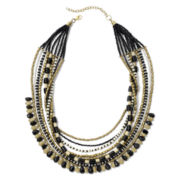 Mixit™ Jet Black & Ivory Ethnic-Inspired, Layered Necklace