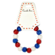 Carole Red, White & Blue Shamballa Stretch Bracelet