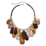 Mixit™ Layered Brown Shell Teardrop Cluster Necklace