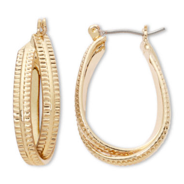 jcpenney.com | Liz Claiborne® Gold-Tone Textured Twisted Hoop Earrings