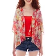 Decree® Oversized Short-Sleeve Chiffon Cardigan