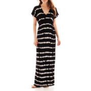 a.n.a® Short-Sleeve Tie-Dyed Striped Kimono Maxi Dress