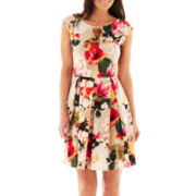Tiana B. Short-Sleeve Floral Print Fit-and-Flare Dress